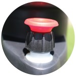 Pressure relief valve releases excess pressure.